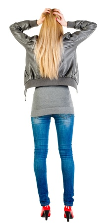 blue grey coat: Back view of shocked  woman in gray jacket. upset young blonde girl. Rear view people collection.  backside view of person.  Isolated over white background. Stock Photo