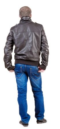 Back view of handsome man in jacket  looking up.   Standing young guy in jeans and  jacket. Rear view people collection.  backside view of person.  Isolated over white background. Stock Photo - 13773004