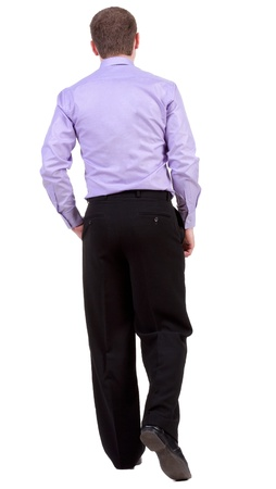 striding: back view of walking  business man.  going businessman. Isolated over white background. Rear view people collection.  backside view of person.