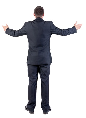 man rear view: Back view of adult  business man . businessman in black suit. Rear view people collection.  backside view of person.  Isolated over white background. Stock Photo