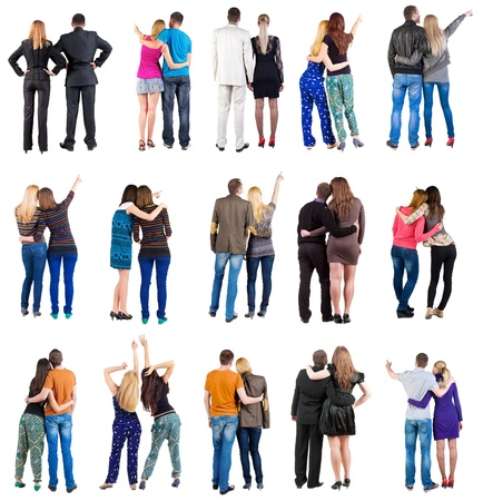 woman behind: collection   Back view of  couple . team set. Rear view people collection. backside view of person. Isolated over white background Stock Photo