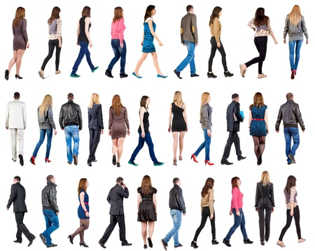 people from behind: collection  back view of walking people . going people in motion set.  backside view of person.  Rear view people collection. Isolated over white background. Stock Photo
