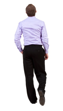 back view of walking  business man.  going businessman. Isolated over white background. Rear view people collection.  backside view of person.   photo