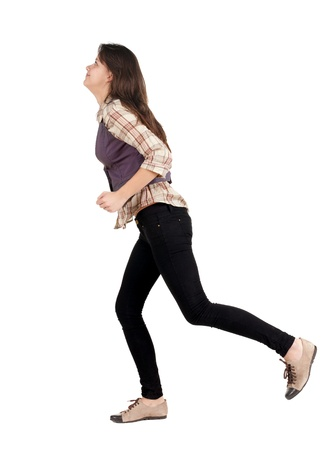 runing: back view of runing woman . walking gir in motion. Rear view people collection.  backside view of person. Isolated over white background.