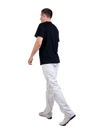 man rear view: Back view of walking handsome man in t-shirt.   going young guy in jeans  Rear view people collection.  backside view of person.  Isolated over white background.