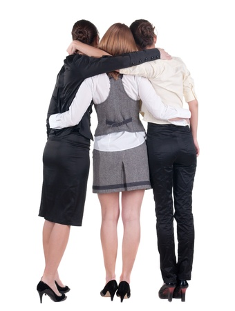 back view of business team work. three beautiful young bussineswoman pointing.Rear view people collection. backside view of person. Isolated over white background. Stock Photo - 15072230