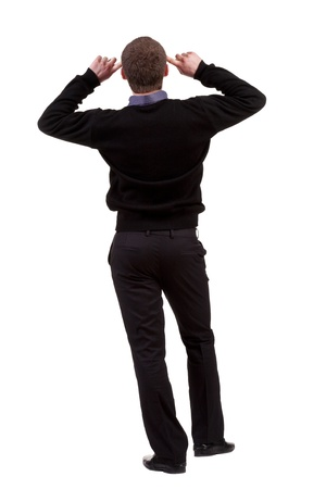 Back view of thinking business man. gesticulating adult businessman  .  backside view of person.  Isolated over white background. Rear view people collection. photo