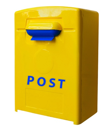 Yellow post box. mailbox. isolated over the white background  photo