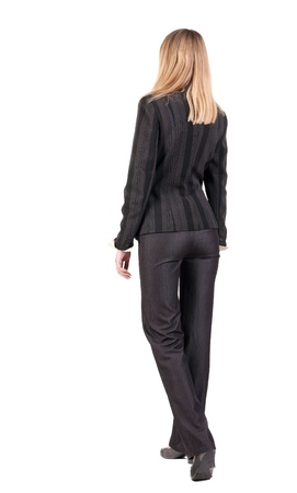 walking businesswoman. back view. going young girl in  suit. Rear view people collection.  back side view of person.  Isolated over white background. Imagens