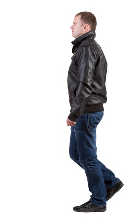 Back view of   walking man in jeans and jacket.    Rear view people collection.  backside view of person.  Isolated over white background. Stock Photo - 15072196