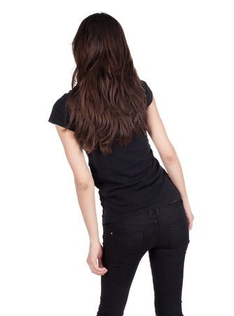 see side: back view of standing beautiful woman. Close up. Young brunette. rear view. Isolated over white background.  Stock Photo
