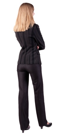 looking behind: back view of thoughtful business woman contemplating  Young girl in suit   Rear view people collection   backside view of person   Isolated over white background