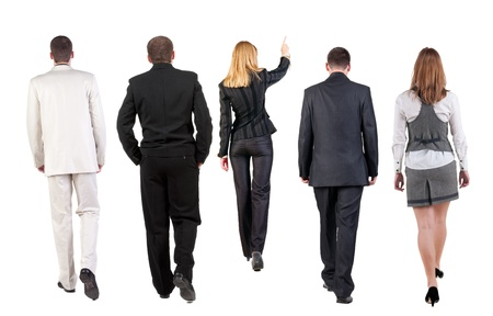 person walking: back view of walking business team  group of business people going  Rear view people collection  backside view of person  Isolated over white background  Stock Photo