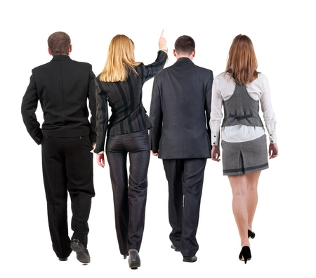 man back view: back view of walking business team  group of businesspeople in suit going  woman pointing in distance  Rear view people collection  backside view of person  Isolated over white background