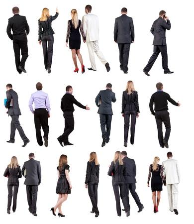 人: 走的商務人士在西裝後視人去的女人和男人的收藏返回視圖中設置的人孤立在白色背景背面視圖 版權商用圖片