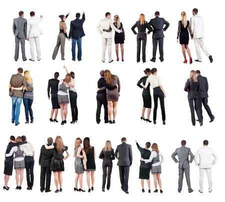 personas de pie: Volver la vista de colección de negocios equipo joven pareja personas retrovisores retrovisores programar una vista trasera de persona aislada sobre fondo blanco