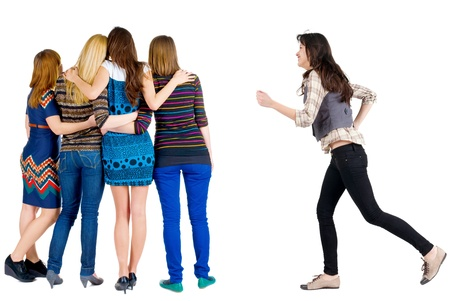 runing: Back view of group young women  girl hastens to join friends   Rear view people collection  backside view of person  Isolated over white background