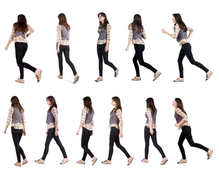 Collection   back view of running woman    walking girl in motion  Rear view people set   backside view of person  Isolated over white background