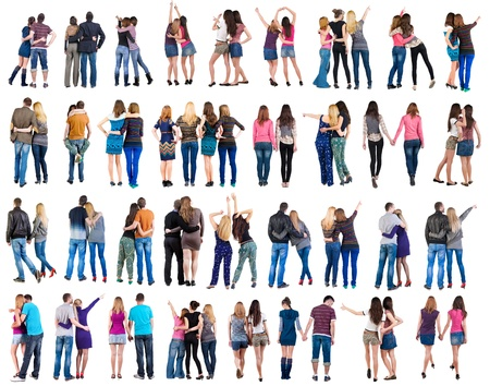 espalda: Colecci�n Volver la vista de hombre y mujer pareja joven chica hermosa y amable chico a personas retrovisores programar una vista trasera de persona aislada sobre fondo blanco