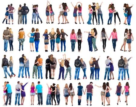 emberek: Gyűjtemény Vissza tekintettel a fiatal pár férfi és nő szép barátságos lány és fiú együtt Hátulnézet emberek meg fenék kilátás ember elszigetelt felett fehér háttér Stock fotó