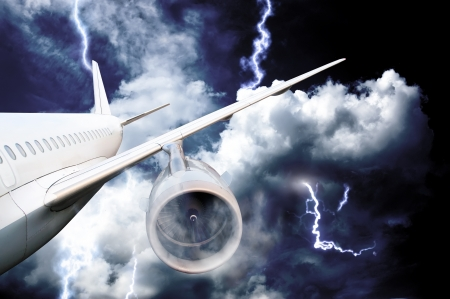 airplane crash in a storm with lightning concept  accident airplane in the sky  emergency landing  flights in bad weather photo