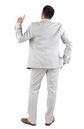 space suit: Back view of  thinking young business man in  white suit. Rear view. isolated over white background. Concept of idea, ask question, think up, choose, decide.