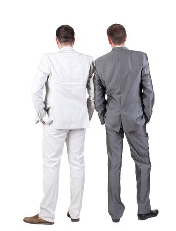 sybol: Back view of Two business men.  Rear view. Isolated over white background.