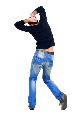 dancing young man back view. Rear view people collection.  backside view of person.  Isolated over white background. Stock Photo - 15835281