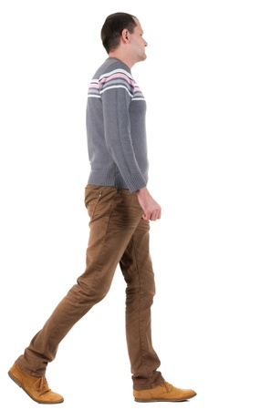 Back view of going  handsome man in sweater.  walking young guy in jeans and  jacket. Rear view people collection.  backside view of person.  Isolated over white background. photo