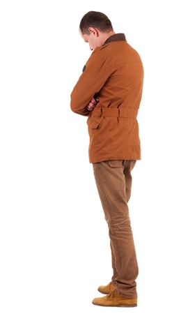 stylishly: Back view of stylishly dressed man in a brown jackett  looking up.   Standing young guy in jeans and  jacket. Rear view people collection.  backside view of person.  Isolated over white background.