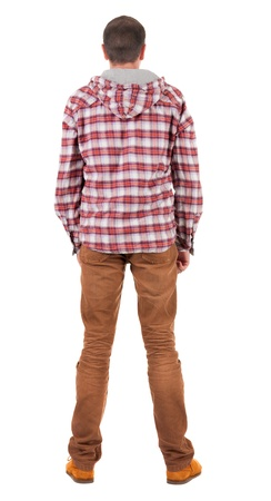 back up: Back view of guy in a plaid shirt with hood  looking. Standing young guy in jeans and  jacket. Rear view people collection.  backside view of person.  Isolated over white background.