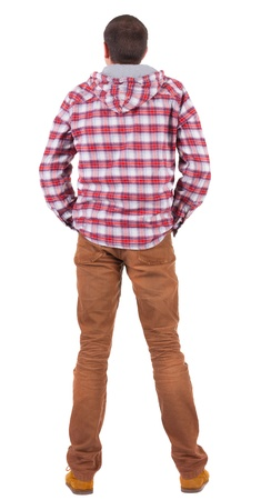 Back view of guy in a plaid shirt with hood  looking. Standing young guy in jeans and  jacket. Rear view people collection.  backside view of person.  Isolated over white background. Stock Photo - 16306241