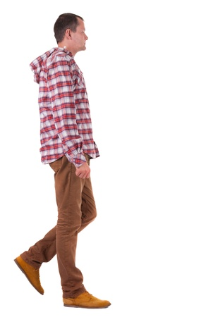 Back view of walking   guy in a plaid shirt with hood.  going young guy in jeans and  jacket. Rear view people collection.  backside view of person.  Isolated over white background. photo