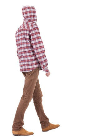 Back view of going  guy in a plaid shirt with hood.  walking young guy in jeans and  jacket. Rear view people collection.  backside view of person.  Isolated over white background. Stock Photo - 16306163