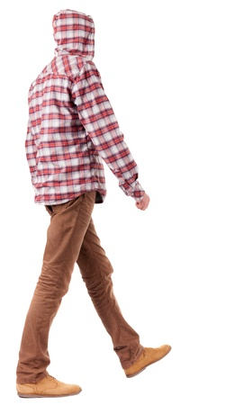 Back view of going  guy in a plaid shirt with hood.  walking young guy in jeans and  jacket. Rear view people collection.  backside view of person.  Isolated over white background. Stock Photo - 16306208