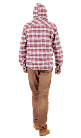 Back view of going  guy in a plaid shirt with hood.  walking young guy in jeans and  jacket. Rear view people collection.  backside view of person.  Isolated over white background. Stock Photo - 16306228