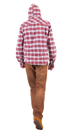 Back view of going  guy in a plaid shirt with hood.  walking young guy in jeans and  jacket. Rear view people collection.  backside view of person.  Isolated over white background. Stock Photo - 16306204
