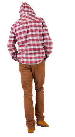 Back view of going  guy in a plaid shirt with hood.  walking young guy in jeans and  jacket. Rear view people collection.  backside view of person.  Isolated over white background. Stock Photo - 16306230