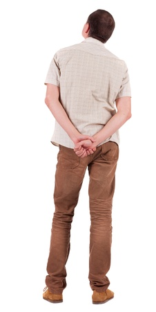 Back view of handsome man in shirt  looking up.   Standing young guy in jeans and  jacket. Rear view people collection.  backside view of person.  Isolated over white background. Stock Photo - 16306166