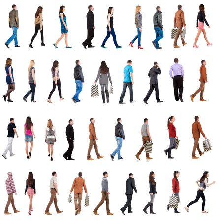 """caminar: colecci�n """"Vista posterior de poca gente"""". va hombres y una mujer en el conjunto del movimiento. vista trasera de su persona. Vista posterior recogida de las personas. Aislado sobre fondo blanco."""