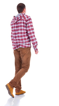 Back view of walking  teenager in plaid shirt with hood.  going young guy in jeans and  jacket. Rear view people collection.  backside view of person.  Isolated over white background. Stock Photo - 18421253