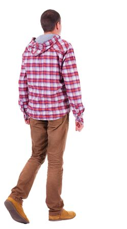 Back view of going  man in a plaid shirt with hood.  walking young guy in jeans and  jacket. Rear view people collection.  backside view of person.  Isolated over white background. Stock Photo - 18421113