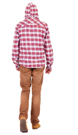 Back view of walking  man in a plaid shirt with hood.  walking young tenager in jeans and  jacket. Rear view people collection.  backside view of person.  Isolated over white background. Stock Photo - 18421110