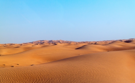 arabic desert: Arabian desert dune background on blue sky. Desert near the city of Dubai. many dunes stretching out into the distance on the background of clear sky