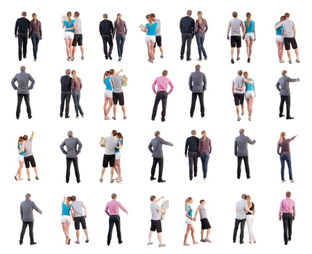 side pose: collection   back view of walking people    going people in motion set   backside view of person   Rear view people collection  Isolated over white background  couple of young people in different situations and clothing