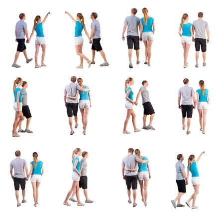 striding:  Collection  Back view of going young couple   walking beautiful friendly girl and guy in shorts together  Rear view people collection  Set  backside view of person    Isolated over white background  young travelers in the warm countries go hand in hand