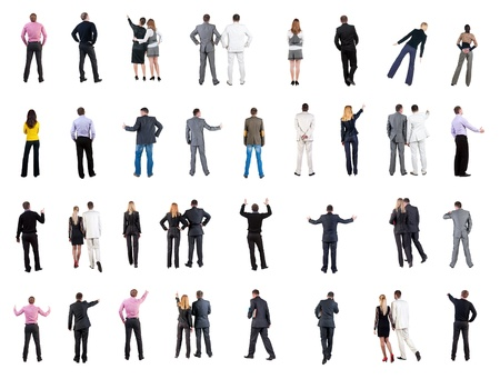 collection  Back view of  business people   Rear view people collection  backside view of person  Isolated over white background  people in formal clothes do all sorts of things photo