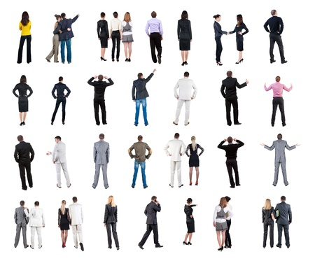 collection  Back view of  business people   Rear view people collection  backside view of person  Isolated over white background  couples, teams, and people engaged in office work alone Stock Photo