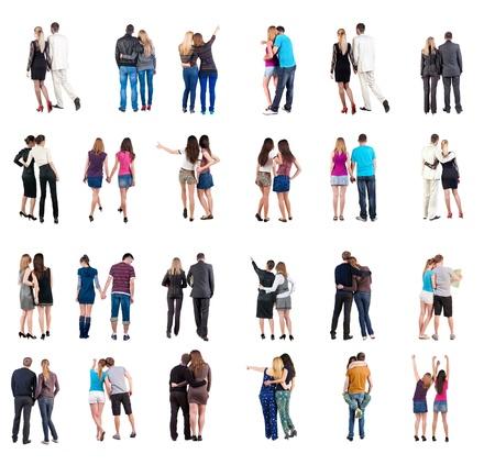 行き: バック コレクション ビューの若いカップル背面ビュー人コレクション裏面ビュー人分離した白い背景の上は一緒に幸せな人を設定 写真素材
