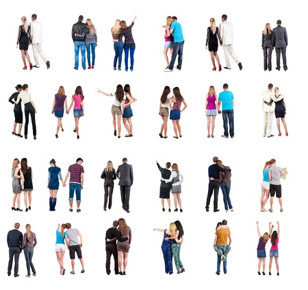 treading: Collection  Back view of young couple    Rear view people collection   backside view of person   Isolated over white background  Set  happy people together